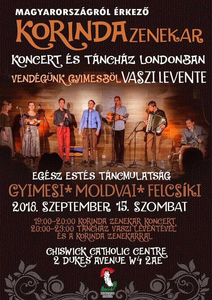 Korinda zenekar koncert és táncház Londonban – 2018.09.15.